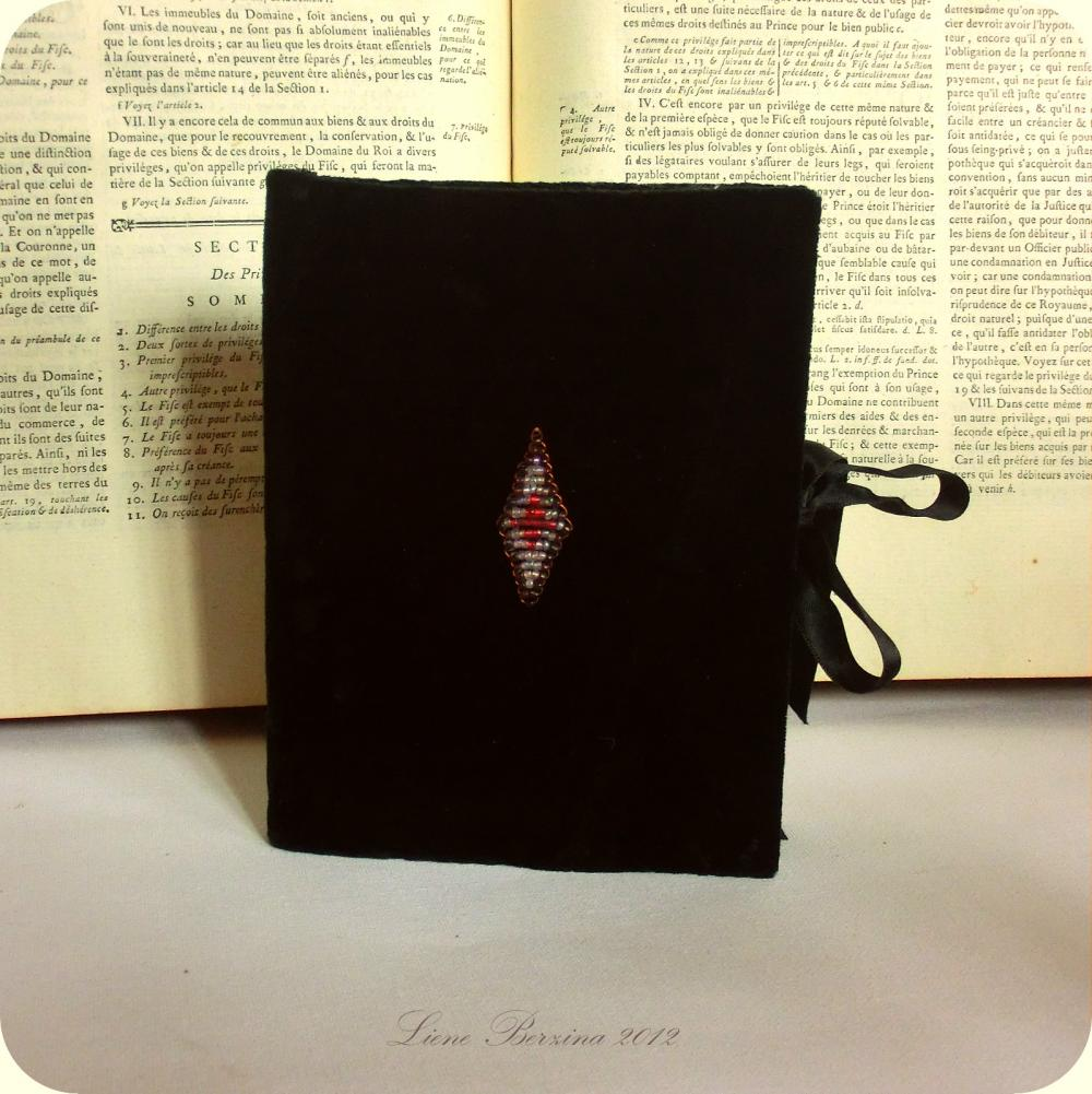 Black velvet antique Medieval style notebook/diary **