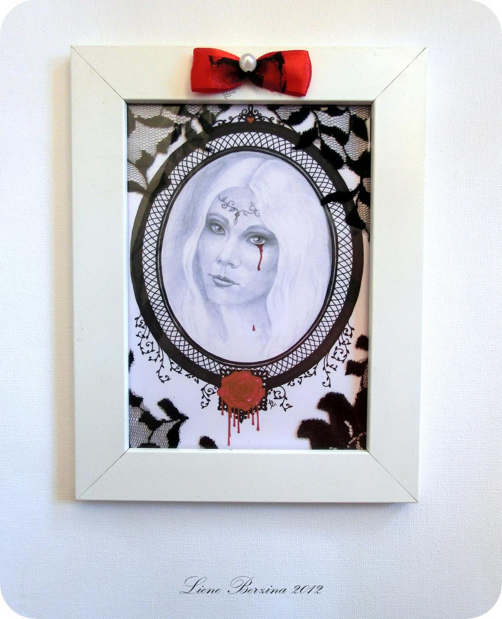 Framed portrait reproduction of a woman: Dying Rose. Drawing in black, white, red. Gothic style **