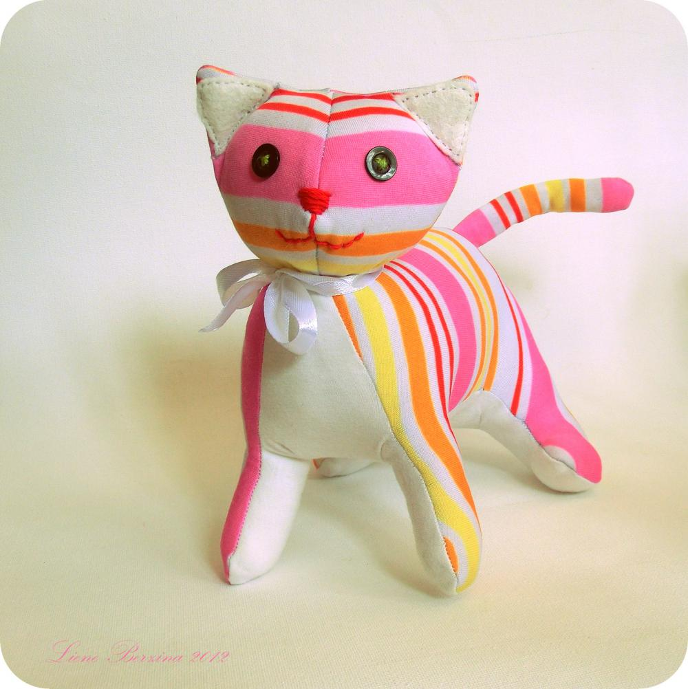 Lovely stiped kitten soft toy